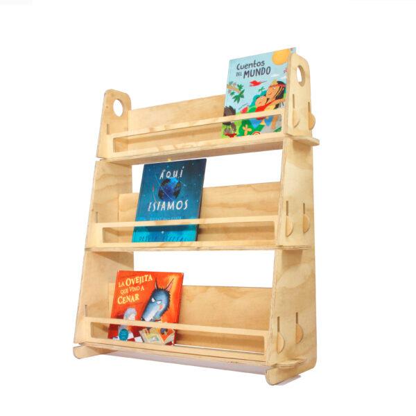 Librero infantil Montessori. Librero para que los niños puedan elegir por sus portadas.